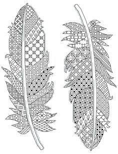 feathers pattern Blackwork 17 x 23 cm ( 14 count) 2 different colors www.borduurbloempje.be