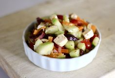 My Big Fat Greek Salad -- Chef John combines cucumbers, tomatoes, olives, oregano, and feta cheese with a simple vinaigrette to give this classic Greek salad big flavor and serious crunch. Mediterranean Dishes, Mediterranean Diet Recipes, Salad Bar, Soup And Salad, Jar Salad, Sin Gluten, Cooking Recipes, Healthy Recipes, Keto Recipes