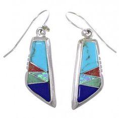 Sterling Silver Earrings | Multicolor Inlay Earrings | Turquoise Jewelry http://www.silvertribe.com