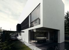 Amazing side elevation + awesome 1st floor glass. h-house. single family house.