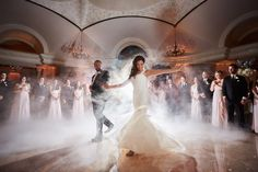 Pleasantdale Chateau Wedding | Bride and Groom First Dance | Smoke Dance Floor | New Jersey | David Nicholas for 5th Avenue Digital Photography