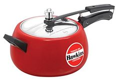 Hawkins Ceramic Coated Contura Pressure Cooker, 5 L, Red