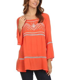Look at this Lady's World Orange Geo Bell-Sleeve Tunic on #zulily today!
