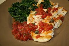 Chicken with Tomatoes, Spinach and Capers    Medifast Lean and Green Recipe  Serves 2   7 oz diced tomatoes in juice, drained  1/4 cup tbs...