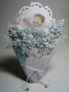 Anja Design: Baby card, but just look at all those die cut blooms!