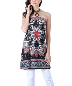 Look at this Collective Rack Black & Maroon Damask Halter Tunic on #zulily today!