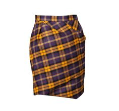 Vivienne Westwood Taxi Yellow and Plum Tartan Skirt