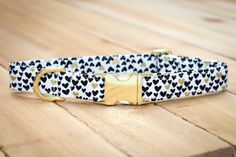 Valentines Day Dog Collar, Gold Hearts - Black, White & Metallic Gold…