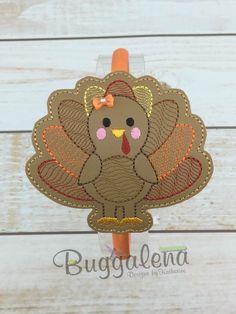Turkey BuggaBand Headband Slider Embroidery Design by Buggalena