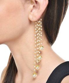 Bohemian ear cuff-Pearl EAR Cuff-Pearl Gold Ear Jackets-Ear climbers-Coachella beaded dangle Long ea