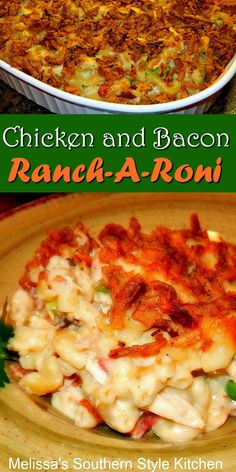 Chicken and Bacon Ranch-A-Roni is a one dish meal the family will love #chicken #macaroniandcheese #rancharoni #chickenbaconranch #chickenbreastrecipes #pasta #dinnerideas #dinner #casseroles #southernfood #southernrecipes #bacon #eaychickenrecipes #macaroni #ranchdressing Easy Pasta Recipes, Potluck Recipes, Side Dish Recipes, Casserole Recipes, Chicken Recipes, Dinner Recipes, Cooking Recipes, Southern Comfort, Southern Style
