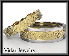 His and Hers Matching Wedding Band SetLotus Flower by Vidarjewelry, $2500.00