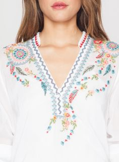 Colorful Dreamcatcher and Feather Embroidery Detail: Johnny Was Collection NEMO BLOUSE in White