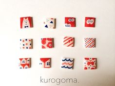 Earrings - red and white