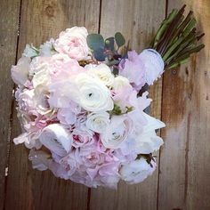 Blush Pink and white bouquet.  Ranunculus, sweet peas, roses, hydrangea.  Photo and Flowers by Tami McAllister