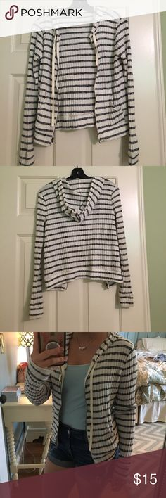 Abercrombie and Fitch soft jacket Abercrombie and Fitch black and white striped comfortable jacket size small. Abercrombie & Fitch Jackets & Coats