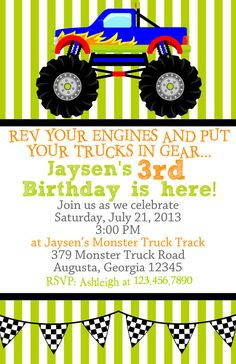 Monster truck birthday party ideas kids etsy New Ideas Monster Trucks, Monster Truck Birthday, Monster Jam, 6th Birthday Parties, Birthday Fun, Birthday Wishes, Birthday Ideas, Rat Rods, Birthday Party Invitations