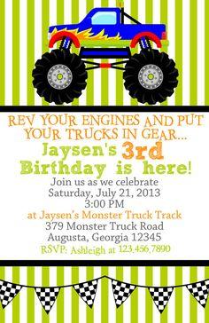 Monster truck birthday party ideas kids etsy New Ideas Monster Trucks, Monster Truck Birthday, Monster Jam, 4th Birthday Parties, Birthday Fun, Birthday Ideas, Birthday Wishes, Rat Rods, Birthday Party Invitations