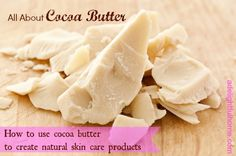 Cocoa butter is one ingredient I always recommend to those getting started with homemade natural body care. It is quite versatile and useful for creating all manner of moisturizing body care products. Organic Skin Care, Natural Skin Care, Natural Health, Raw Cocoa Butter, Beauty Recipe, Homemade Beauty, Diy Beauty, Natural Cosmetics, Bath And Body Works