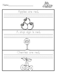 """Students will trace simple sentences, such as """"Apples are red."""", copy the sentences, and then color the object in the correct color. Nine of the printables include the colors red, orange, yellow, green, blue, purple, brown, black, and white. Three of the printables have a mixed practice review to be used at the end of the unit."""