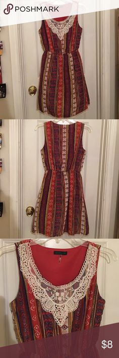 Sleeveless Sun Dress 100% Polyester, has thick lining so isn't see-through, only worn once, like new! CALS Dresses Mini