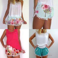 Mode Lässig Damen High Waist Quaste Strand Shorts Blumen Hotpants Mini Kurz Hose