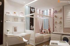 Morar Mais (quarto de menina rosa) - Quarto de menina nas cores rosa, branco e azul. A cama e cômoda são brancos e combinam com as paredes rosa, branco e azul