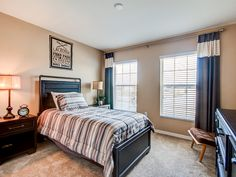 This bedroom works with dark woods and cream colors to bring a sophisticated look to the room decor. Click to see more of this beautiful model home. #DreamHome Oleander II by Highland Homes Creative Kids Rooms, Highland Homes, Bedroom Pictures, New House Plans, Florida Home, Model Homes, Beautiful Models, Dark Wood, Home Builders