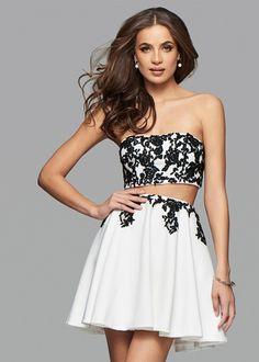 Classic Flowing Ivory Black Two Piece Lace Applique Cocktail Dress