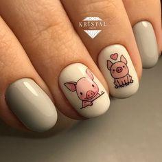 Acrylic Nail Art For More Beautiful Nails Pig Nail Art, Pig Nails, Animal Nail Art, Cute Nail Art, Easy Nail Art, Cute Nails, Pretty Nails, Short Nail Designs, Nail Art Designs