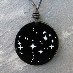 The Pleiades on a stone onyx pendant. Simply beautiful.
