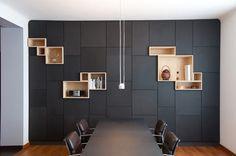 I love these features display areas in lighter wood TT  Filip Janssens storage modern shelves Plastolux