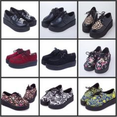 HARAJUKU style women's shoes vintage lace up flower print creepers flats shoes  #new #ClosedToe