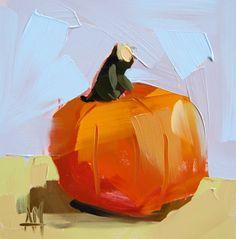 Little Pumpkin no. 4 original still life oil by Angela Moulton prattcreekart