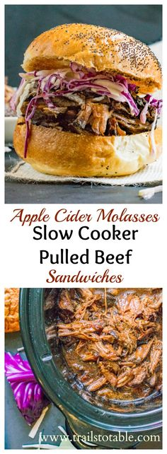Crockpot Pulled Beef Sandwiches. Easy slow cooked beef simmered in a delicious molasses apple cider sauce.