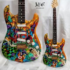 Hand Painted Fender Strat Body with Custom Painted Pickguard by Juleez Fender Stratocaster, Fender Electric Guitar, Custom Electric Guitars, Stratocaster Guitar, Fender Guitars, Custom Guitars, Acoustic Guitars, Guitar Painting, Guitar Art