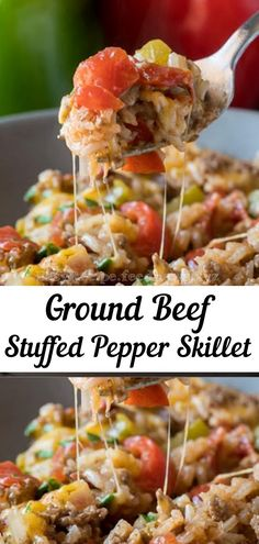 Ground Beef Stuffed Pepper Skillet - Food and drinks interests Meat Recipes, Mexican Food Recipes, Cooking Recipes, Healthy Recipes, Easy Cooking, Recipies, Dinner Recipes, Beef Dishes, Food Dishes