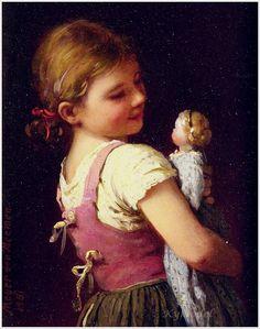 Johann Georg Meyer von Bremen (German, 1813-1886) «Gretchen's Favourite» 1881