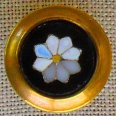 Antique Onyx  Pietra Dura Stud Button Framed with Brass.  via Etsy.