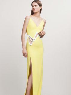 Long Yellow Sheath Sleeveless Dress