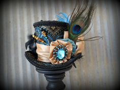 Blue, Black and Turquoise Mini Top Hat, Mad hatter Hat, Alice in Wonderland Mini Top Hat, Tiny Top Hat, Mad Hatter Hat, Steampunk hat on Etsy, $55.00