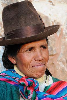 Local woman in traditional dress, Chinchero (near Cusco), Peru by iancowe, via Flickr