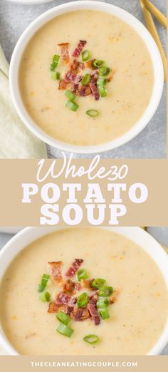 Potato Soup is total comfort food! Paleo, healthy + vegan, this easy creamy potato soup can be made on the stove, in the crock pot or instant pot. This clean eating soup is totally dairy free Healthy Potato Soup, Creamy Potato Soup, Healthy Potatoes, Paleo Soup, Vegetarian Soups, Healthy Soups, Potato Soup Recipes, Easy Healthy Soup Recipes, Whole 30 Vegetarian