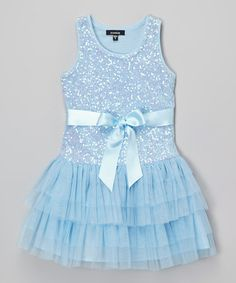 Look at this #zulilyfind! Light Blue Sequin Dress - Toddler & Girls #zulilyfinds