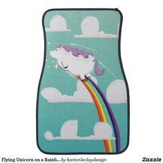 Flying Unicorn on a Rainbow Car Floor Mat
