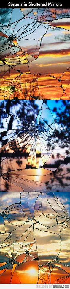 Broken Mirror/Evening Sky: Sunset reflected in shattered mirror, by Bing Wright Creative Photography, Amazing Photography, Nature Photography, Reflection Photography, Mirror Photography, Photography Tips, Photography Backdrops, Digital Photography, Landscape Photography