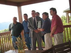 TECO Coal team members accept award from Carl Campbell, commissioner of the Kentucky Department of Natural Resources. Pictured from left to right are Greg Hayes, J. C. Cornett, Campbell, Stacy Billiter, Bob Zik and Don Hall.