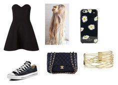 """""""who else wears converse with a dress"""" by iamrosyrosalie ❤ liked on Polyvore featuring Miss Selfridge, Converse, Chanel and Kate Spade"""