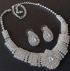 Diamante Rhinestone Necklace Earring Demi by BrightgemsTreasures