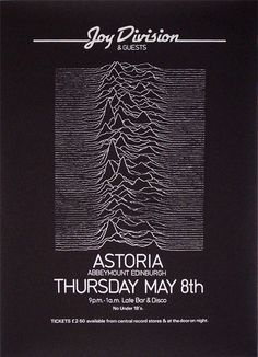 Joy Division: Unknown Pleasure (Astoria Concert) Posters Uk, Band Posters, Music Posters, Peter Saville, Ian Curtis, Unknown Pleasures, Music Flyer, Joy Division, Music Artwork